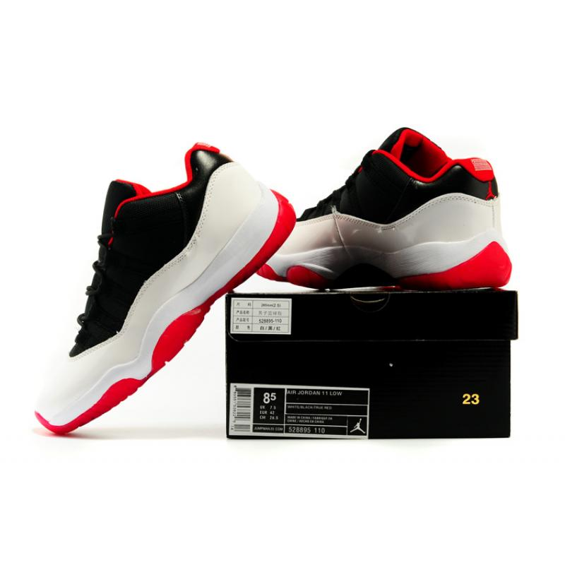 1bd428fa1e96 ... New Air Jordan 11 Low White Black-Red Shoes For Sale