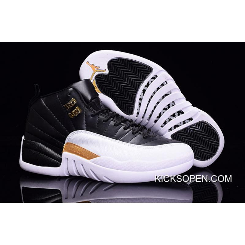 407b58613bcdaa Discount Air Jordan 12 Black White Metallic Gold ...