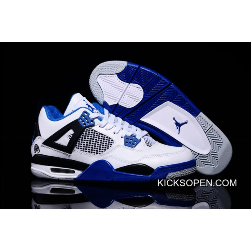 c1bec62f21ed Free Shipping New Air Jordan 4 Retro White Black Blue Shoes ...