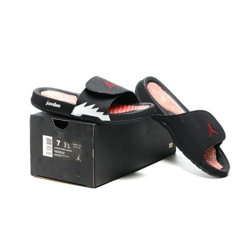 new product 2653d e1c73 ... Air Jordan Hydro 5 Black Red White Slide Sandals New Style