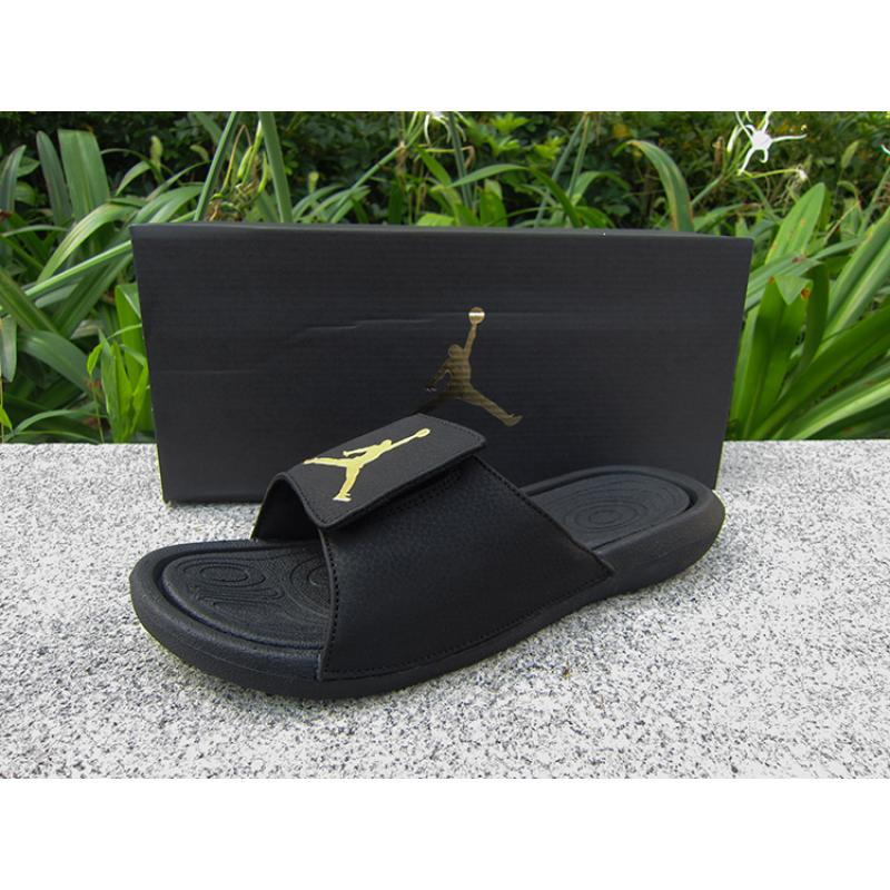6aeb1e10db9d Air Jordan Hydro 6 Sandals Black Gold Latest ...