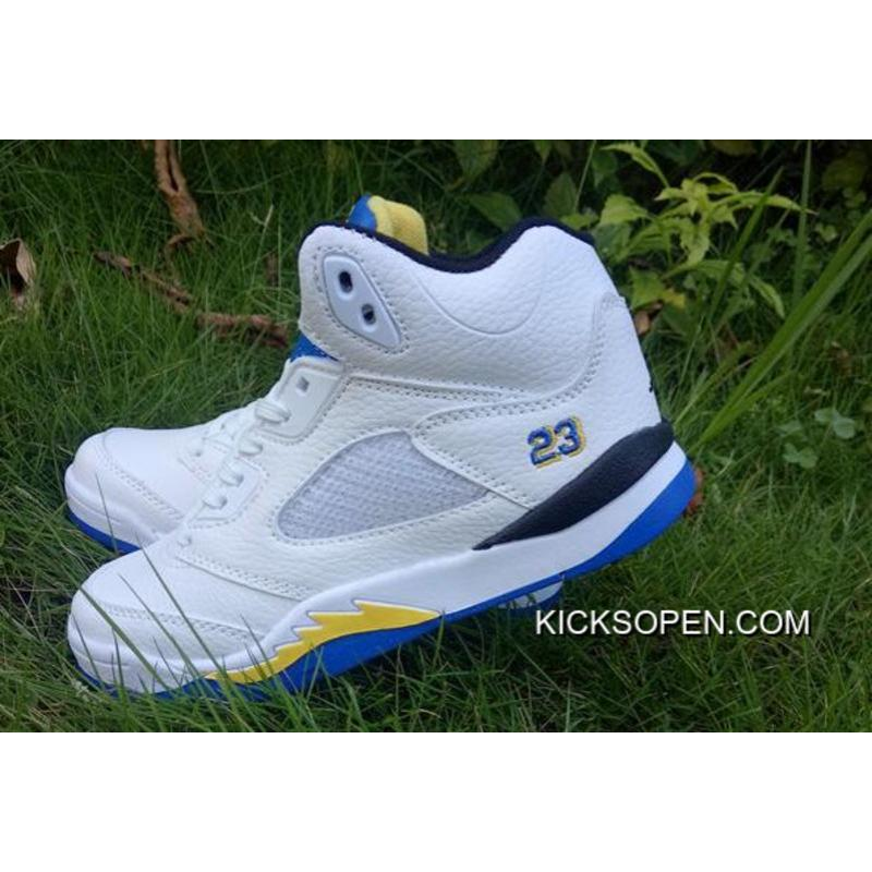 "c3d3318538fe ... Super Deals Kids Air Jordan 5 ""Laney"" White Varsity Maize-Varsity Royal  ..."