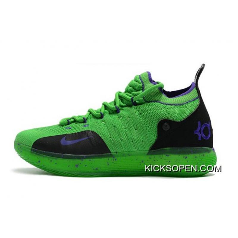 c29a608feddd Kevin Durant s Nike KD 11 Green Black-Purple Big Discount ...