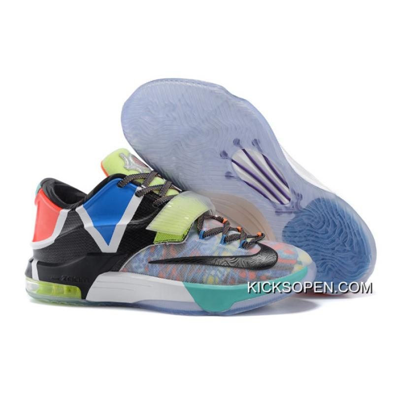 """look for 3a881 581f9 Nike KD 7 """"What The"""" Multi-Color Horizon-Black Top Deals ..."""