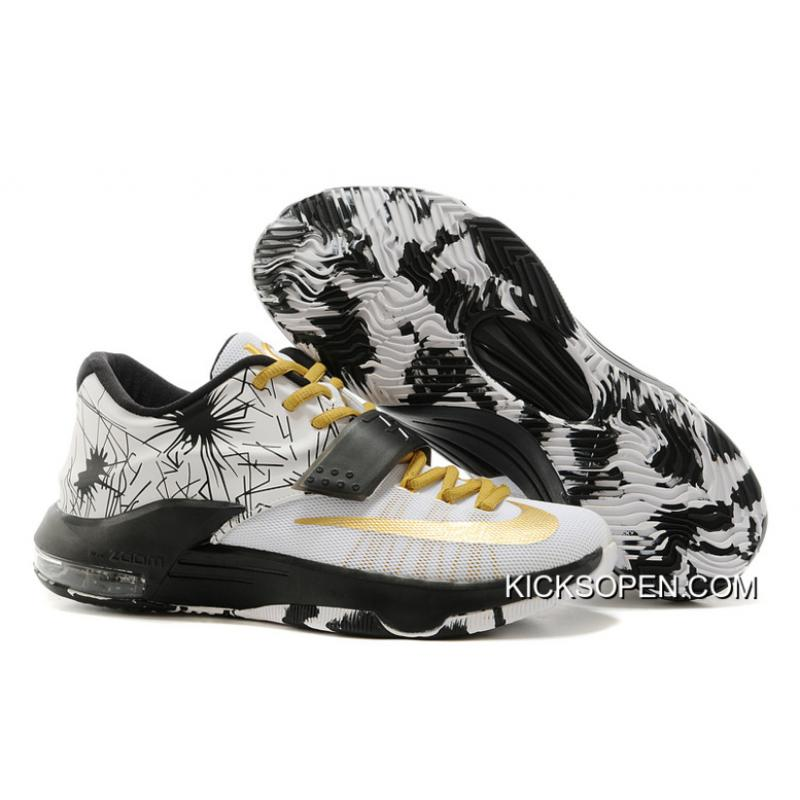 """promo code 4a2ee d93f1 Nike Kevin Durant KD 7 VII """"Patterns"""" White-Black Metallic Gold New ..."""