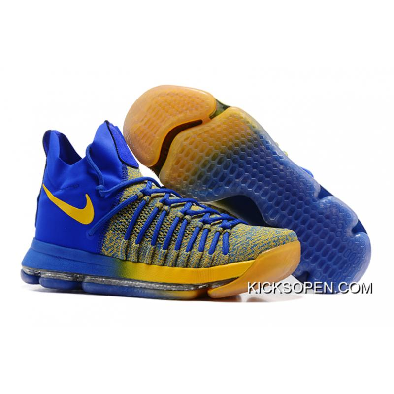 "new product 4303b c933e Top Deals Nike Zoom KD 9 Elite ""Warriors Away"" Blue Yellow ..."