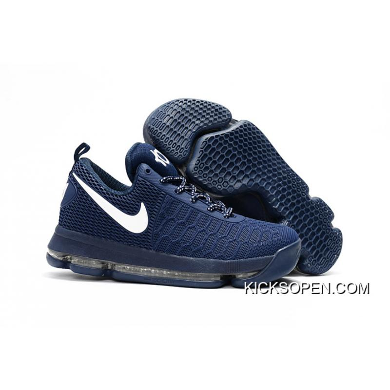 fc9417d1247b5 New Style Nike KD 9 Dark Blue White Basketball Shoes ...