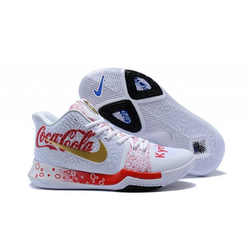 """ac2986dcaf03 Nike Kyrie 3 """"Coca-Cola"""" Custom White Red Blue New Year Deals ..."""