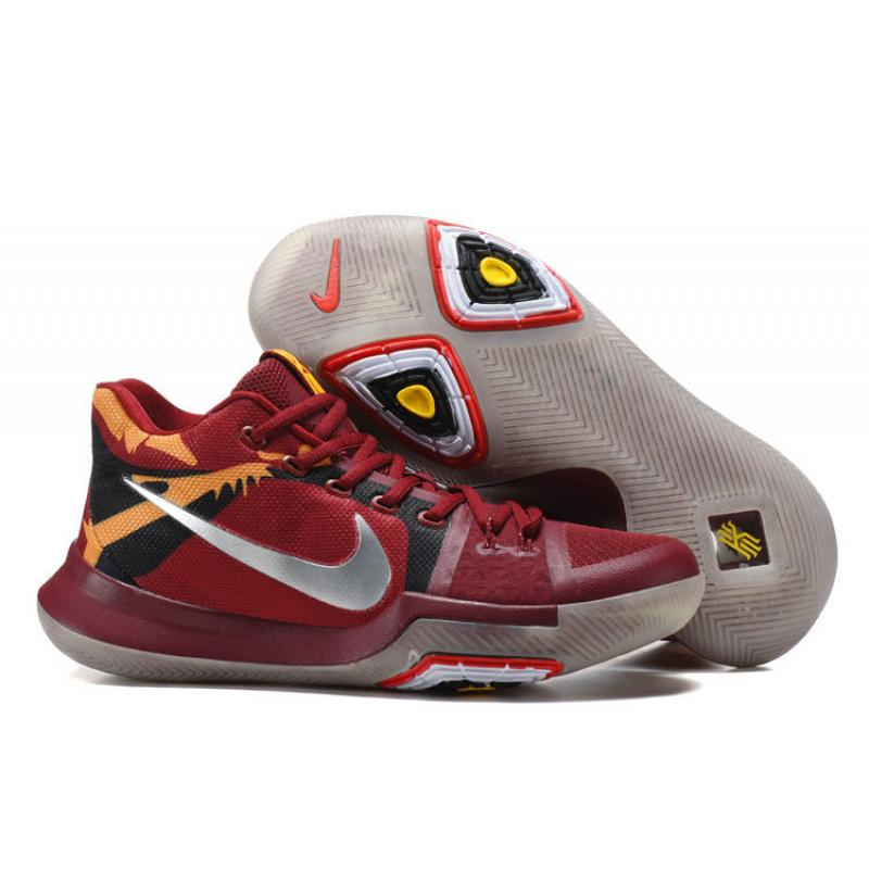 "New Release Nike Kyrie 3 ""Cavs"" Red Yellow Silver Glow In The Dark Sole ... adad5fa9a"