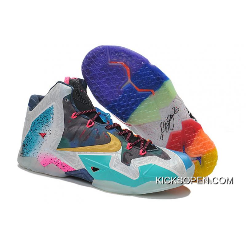 "Nike LeBron 11 ""What The LeBron"" Black Lava Silver Ice-Galaxy Blue ... 56fdd2856"