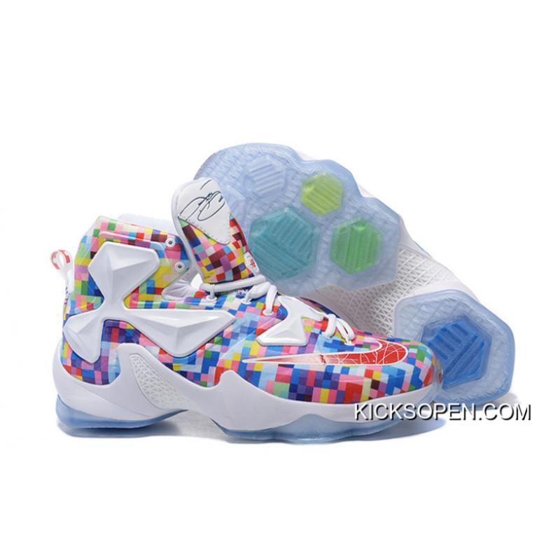 "online retailer 8f193 319e9 Nike LeBron 13 ""Prism"" Multi-Color University Red-White Basketball Shoes ..."