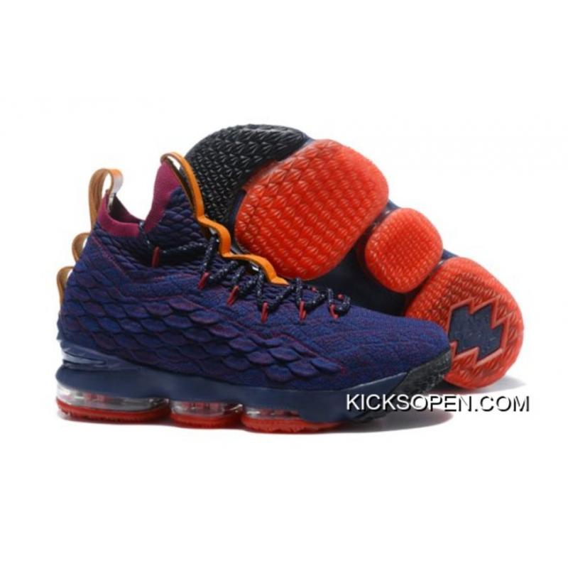 "7cf574d1519 Nike LeBron 15 ""Cavs"" Navy Blue And Wine Red-Orange Top Deals ..."