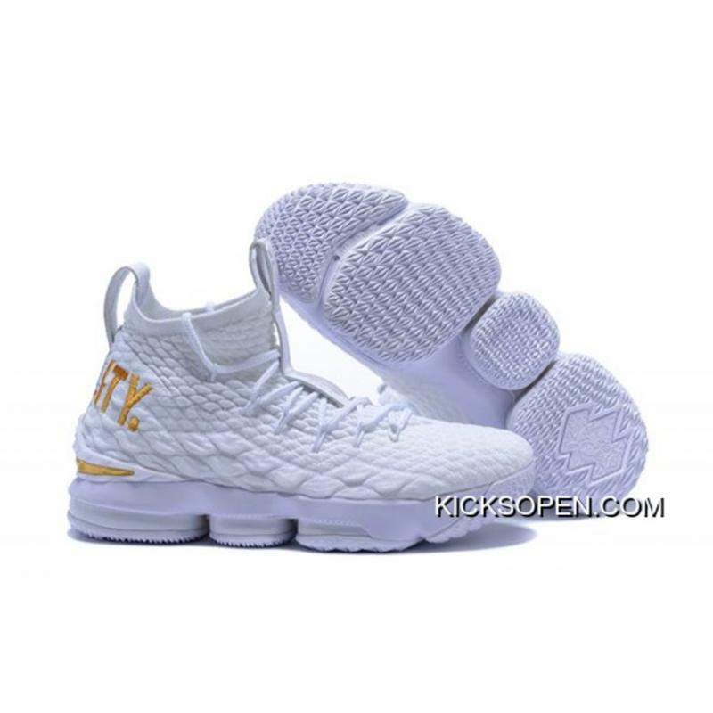 513a91ee79fb5d Nike LeBron 15  Equality  PE White And Metallic Gold For Sale ...