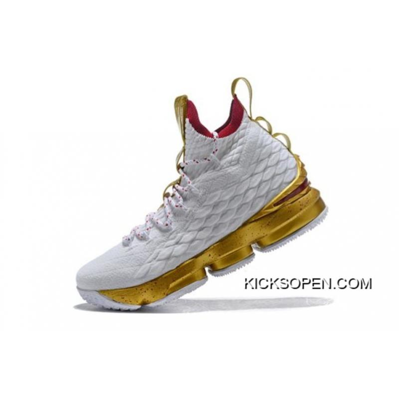 "ee62e48c3146 Where To Buy Men s Nike LeBron 15 ""White Gold"" Basketball Shoes Free  Shipping ..."