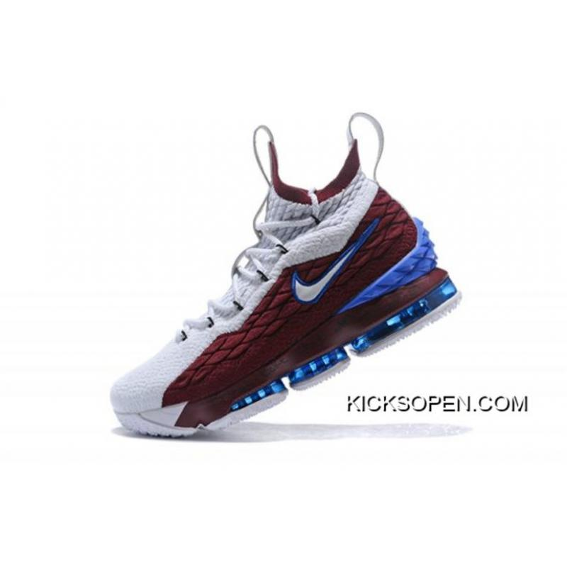 "6ef09957625 Nike LeBron 15 ""First Game AZG"" Cavs White Red Blue Super Deals ..."
