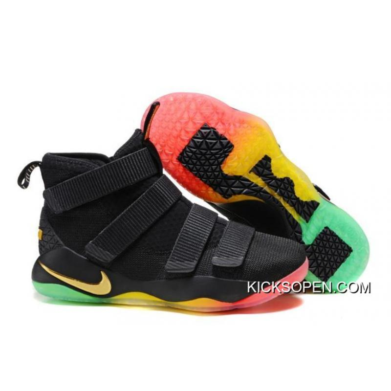 bac5483924c55 Nike LeBron Soldier 11 Black Gold Rainbow Discount ...