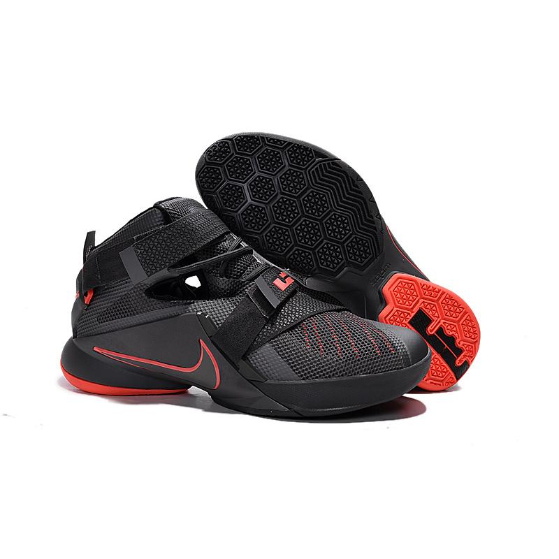 f2bd33710c3 Nike LeBron Soldier 9 Black And Red Highlights Basketball Shoe Best ...