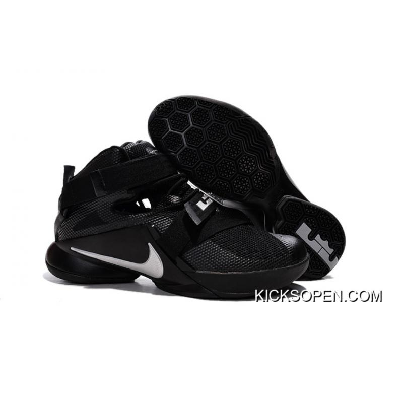 "75cef4d83be53 Outlet Nike LeBron Soldier 9 ""Blackout"" All Black Basketball Shoe ..."