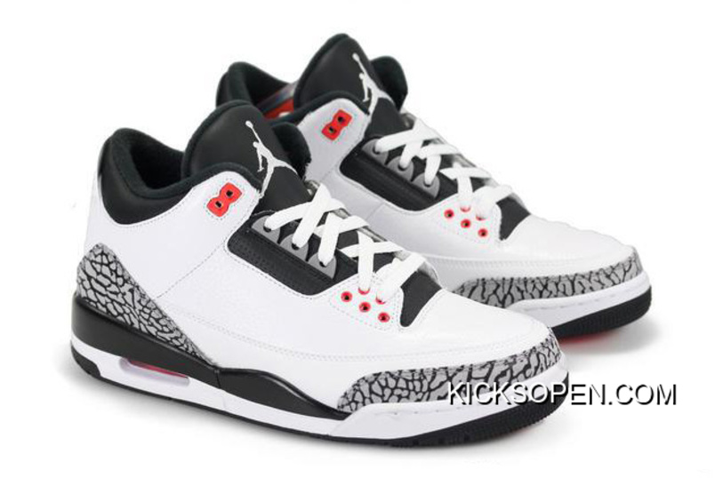New Air Jordan 3 Retro White/Black-Wolf Grey-Infrared 23 New Year