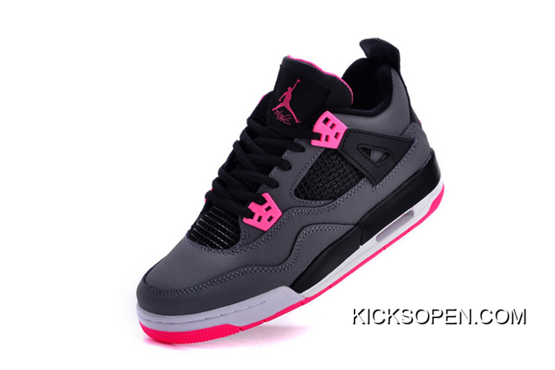 Air Jordan 4 GS Black Grey Hyper Pink Top Deals 3dc53cde4