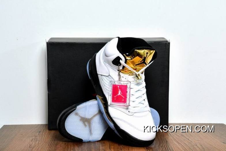 """new product d5929 a77a8 Air Jordan 5 """"Olympic Gold Medal"""" White Black-Metallic Gold Coin Latest"""