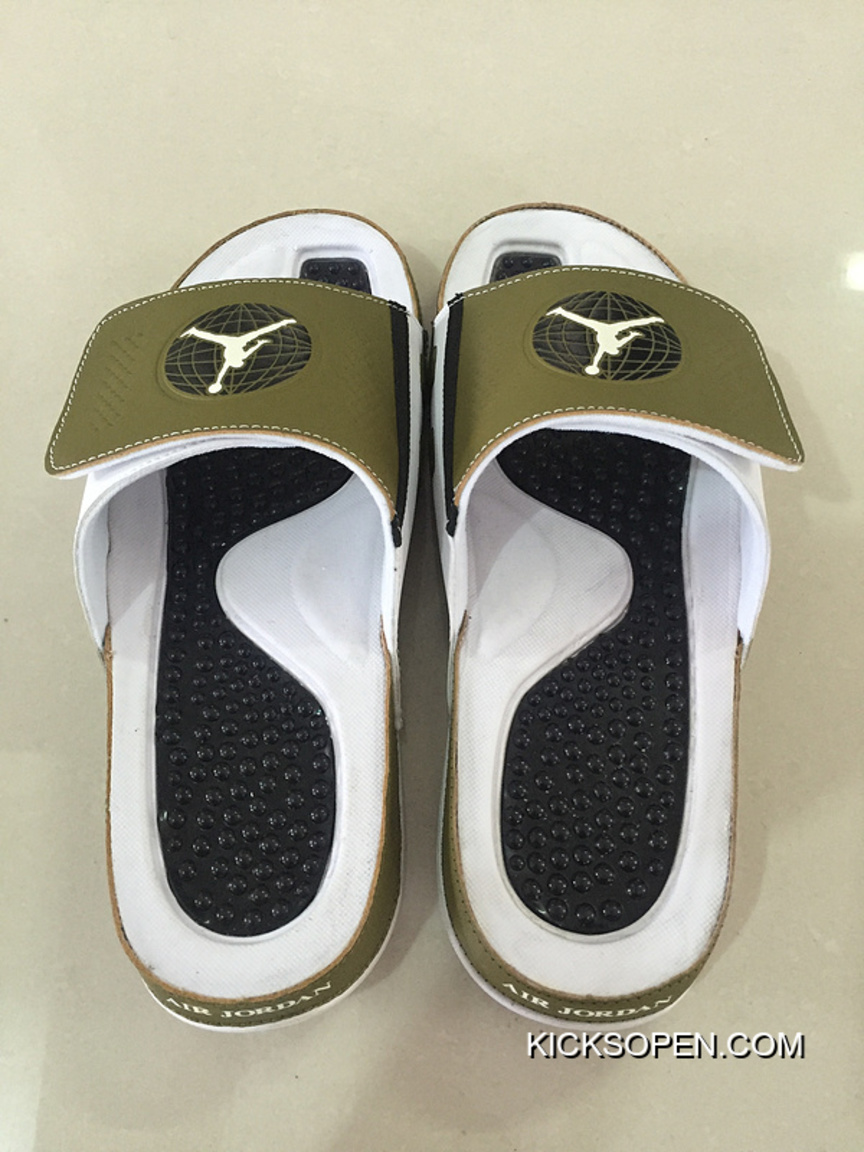 b3b7f0765 Best Mens Jordan Hydro 9 Slide Sandals Militia Green/White/Black
