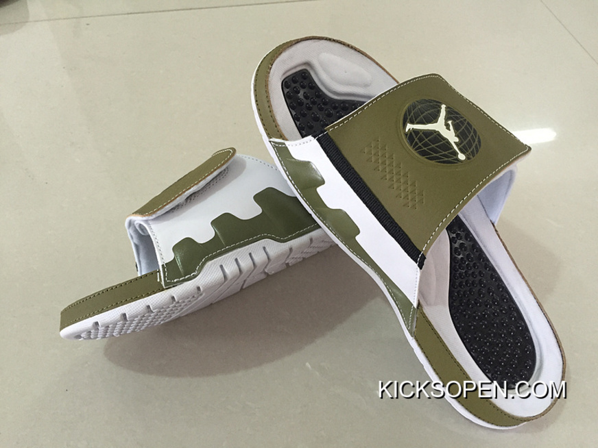 best cheap 35e05 a3115 Best Mens Jordan Hydro 9 Slide Sandals Militia Green White Black