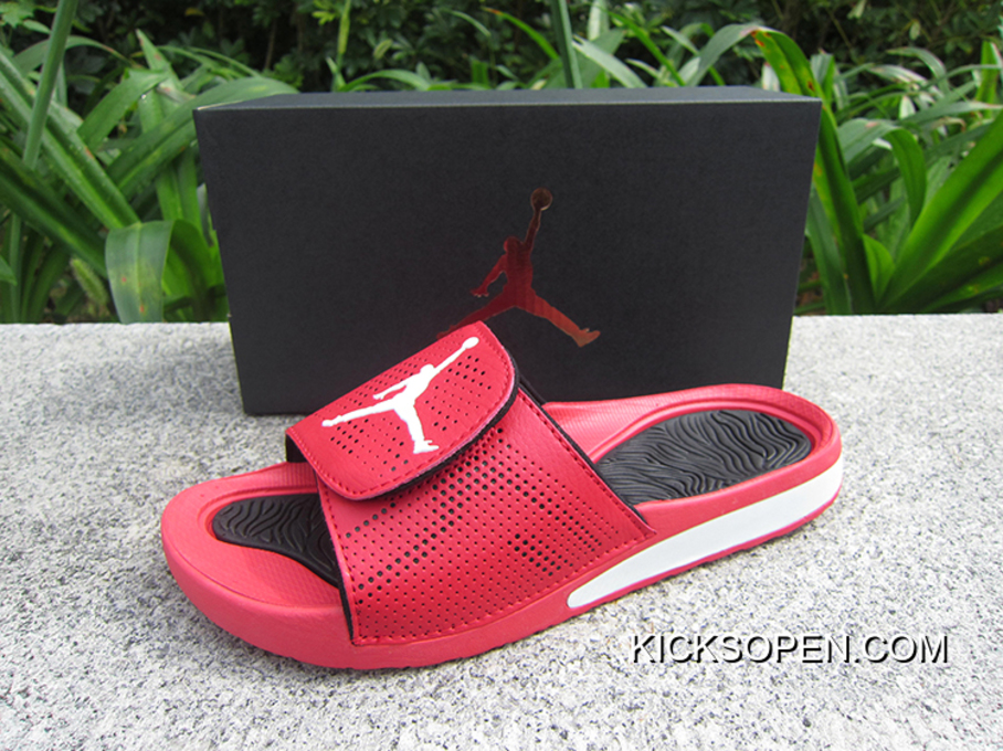 1efeead135fe WMNS Jordan Hydro V Retro Sandals Red White Black Discount