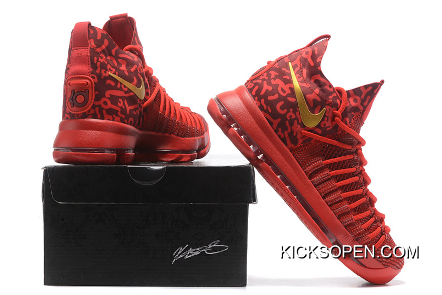 8a018eea148c Nike Zoom KD 9 Elite Varsity Red Gold Basketball Shoes Online