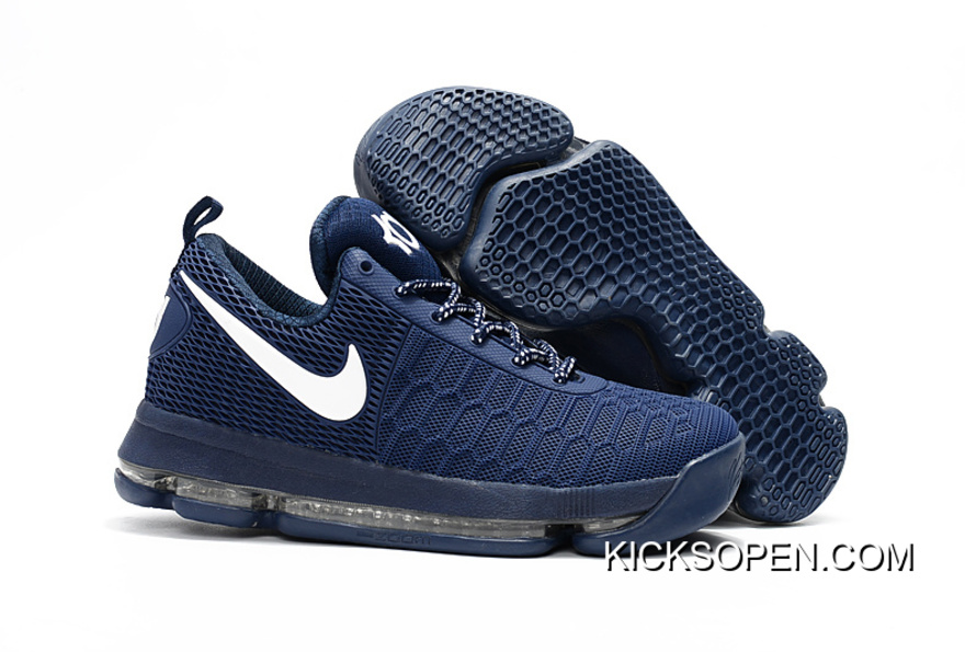 908bb4631eb3 New Style Nike KD 9 Dark Blue White Basketball Shoes