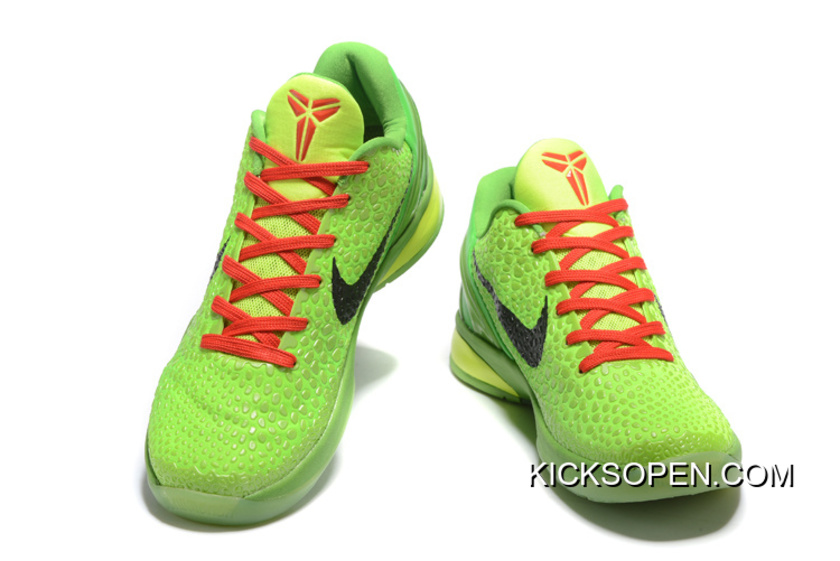 86215514f545 Discount Nike Zoom Kobe 6 Grinch Christmas Green Mamba Basketball Shoes