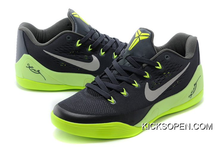 wholesale dealer 6f319 bd5cf Nike Kobe 9 Low EM Black Neon Green-Grey Online Big Deals