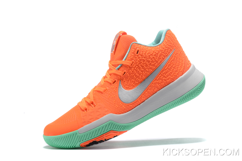 newest 325c6 c80d1 Copuon Nike Kyrie 3 Orange Green Silver Basketball Shoes