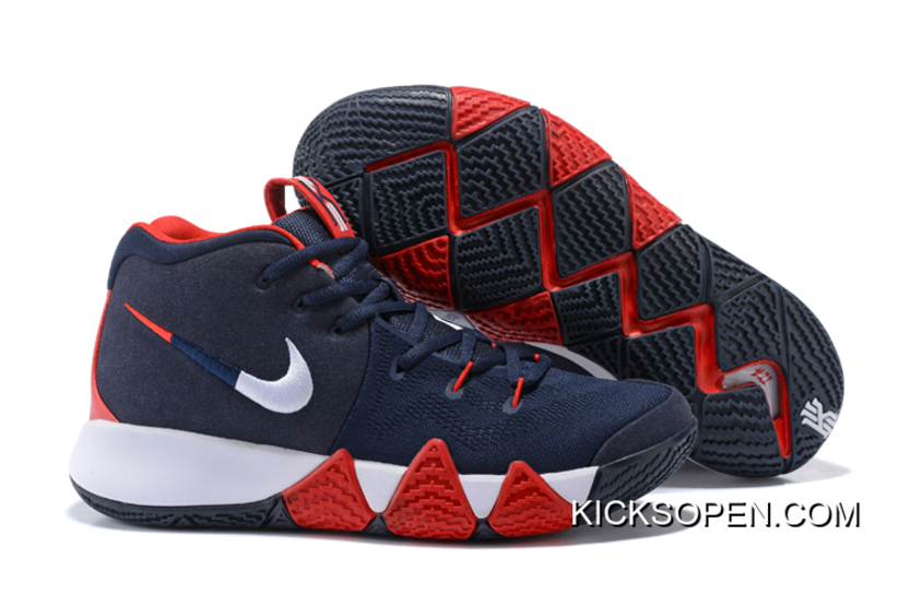 "822f90426472 New Release Nike Kyrie 4 ""USA"" Navy Blue White-Red"