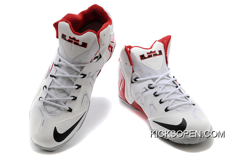 """new products cfb65 148d6 Nike LeBron 11 Elite """"Home"""" PE White-Red Wolf Grey New Release"""