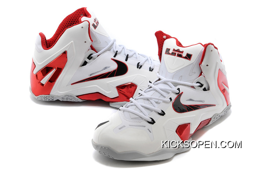"""432ee5d630e6 Nike LeBron 11 Elite """"Home"""" PE White-Red Wolf Grey New Release ..."""