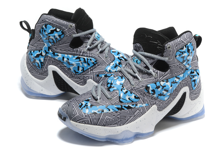 "df4ad3fe13f915 Top Deals Nike LeBron 13 ""Camo"" Grey Blue White Basketball Shoes ..."