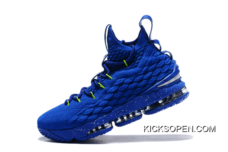 12643da8f7b Nike LeBron 15 Royal Blue Green-White New Style