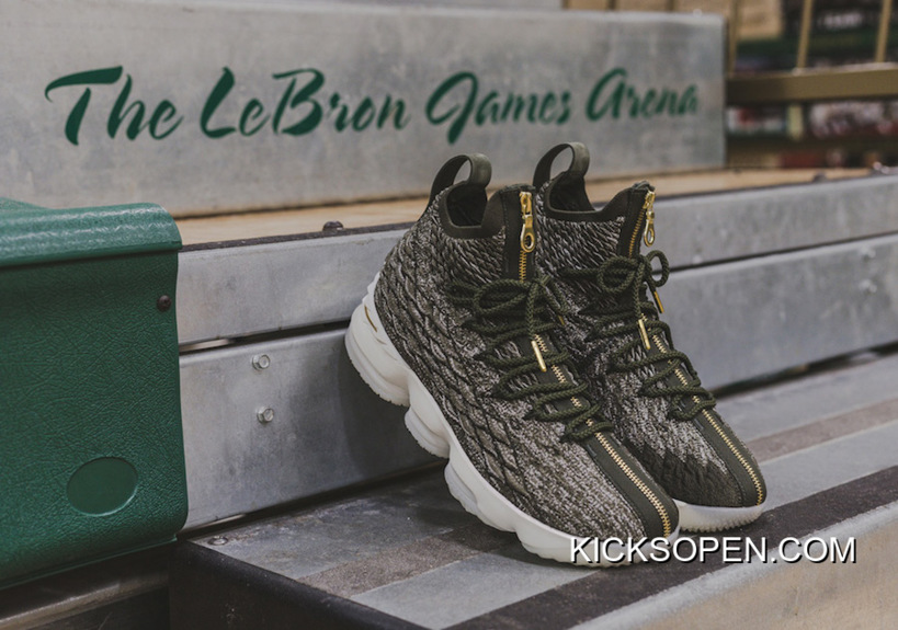 d54a9b5e55c KITH X Nike LeBron 15  SVSM  Dark Green Gold-White For Sale