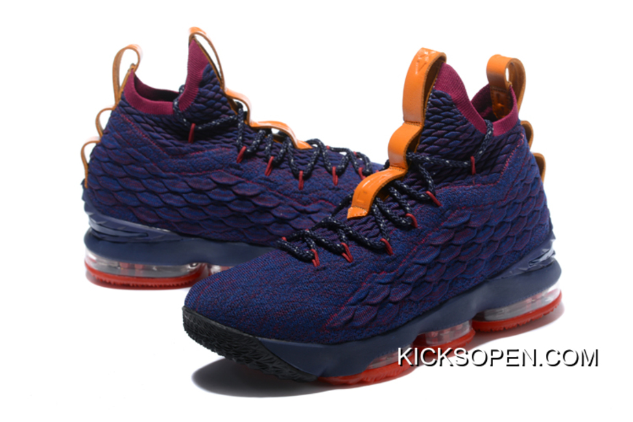 "19c46241bcc Nike LeBron 15 ""Cavs"" Navy Blue And Wine Red-Orange Top Deals"