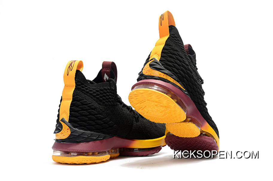 """free shipping 7ddcb 9f8cd Nike LeBron 15 """"Cavs"""" Black Yellow And Wine Best, Price: $93.66 ..."""