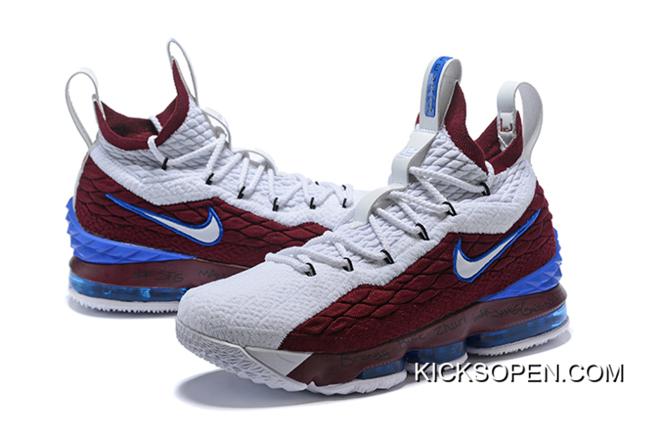 """new styles c4c19 ca486 Nike LeBron 15 """"First Game AZG"""" Cavs White Red Blue Super Deals"""