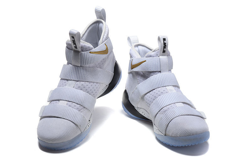 "b2601be77fb For Sale Nike LeBron Soldier 11 ""Court General"" White Metallic Gold-Black"