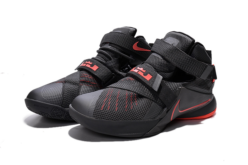 26baf3c4d4c0 Nike LeBron Soldier 9 Black And Red Highlights Basketball Shoe Best ...