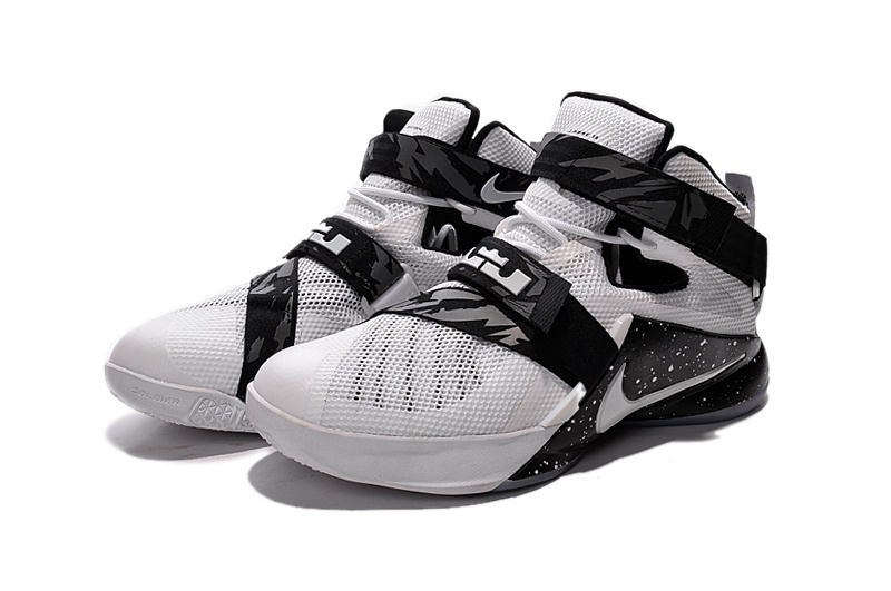 huge selection of c86c8 4e4a4 Nike LeBron Soldier 9 White Black Basketball Shoe New Release